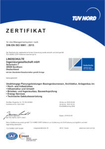 LINDSCHULTE ist zertifiziert nach DIN EN ISO 9001 : 2015.
